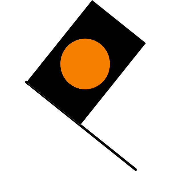 Vector graphics of black with orange circle flag
