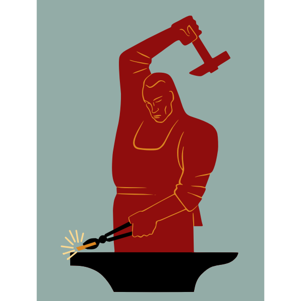 Blacksmith with gold vector image