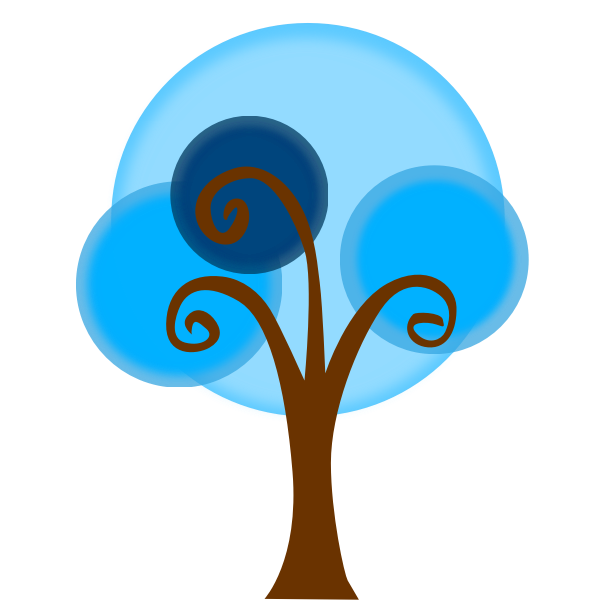 Blue cartoon tree