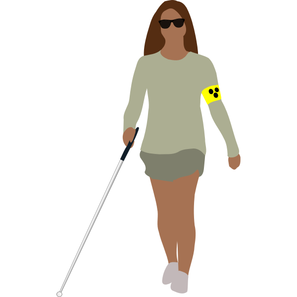 Vector image of a blind woman walking