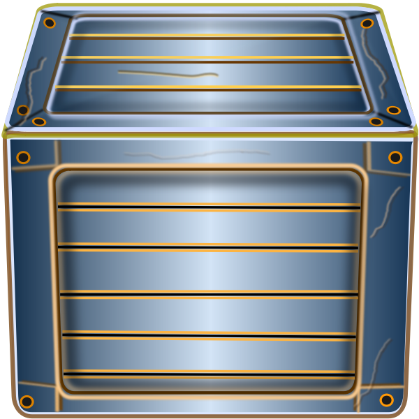Vector clip art of wooden blue box