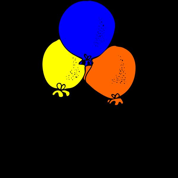 Blue orange and yellow balloons