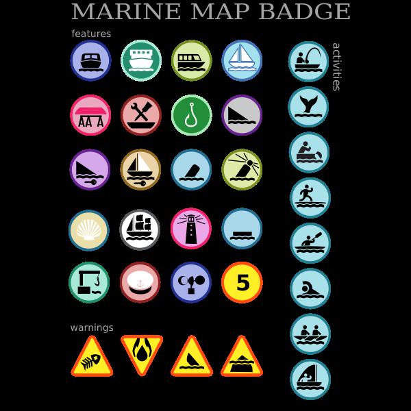 Marine map badges vector image