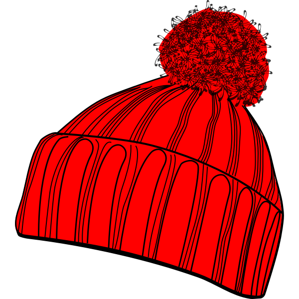 Vector drawing of red winter bobcap