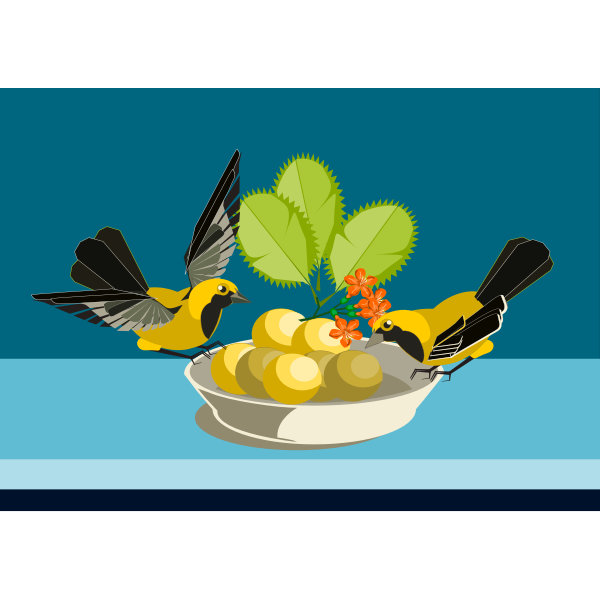 Vector illustration of two small birds eating out of a dish
