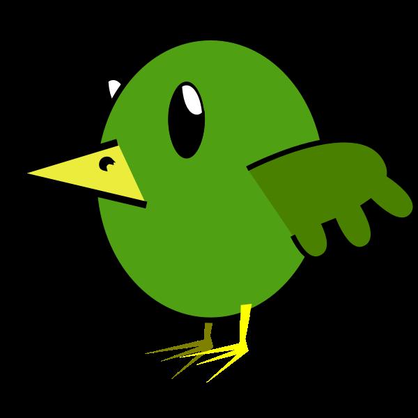 Cartoon vector graphics of green bird