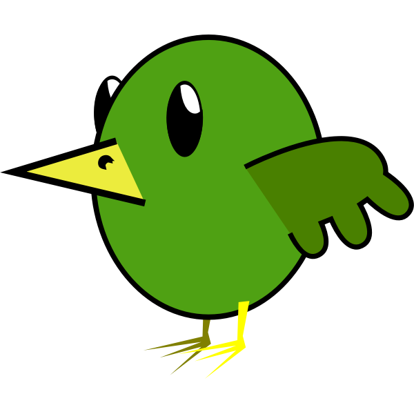 Cartoon vector graphics of green bird