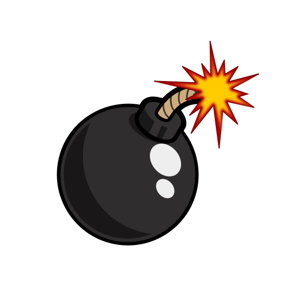 Shiny bomb with lighted fuse