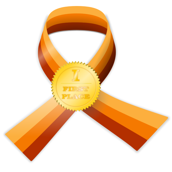First place contest award medal vector illustration