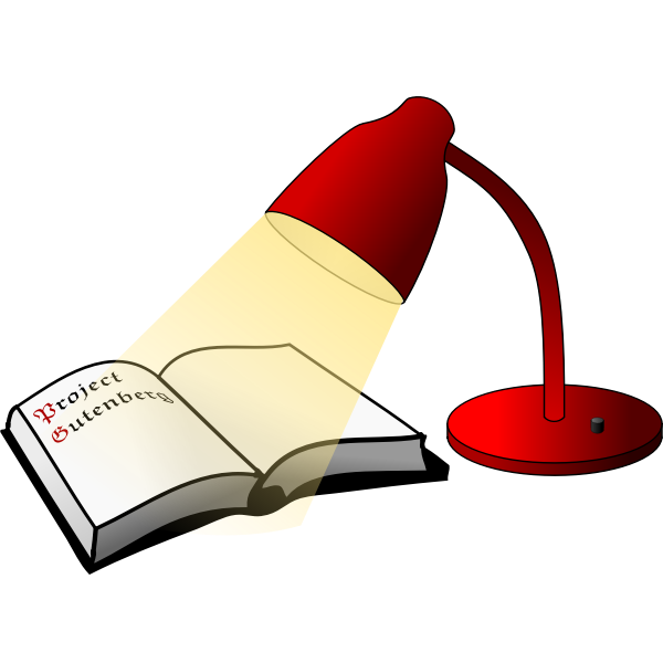 Open book and reading lamp