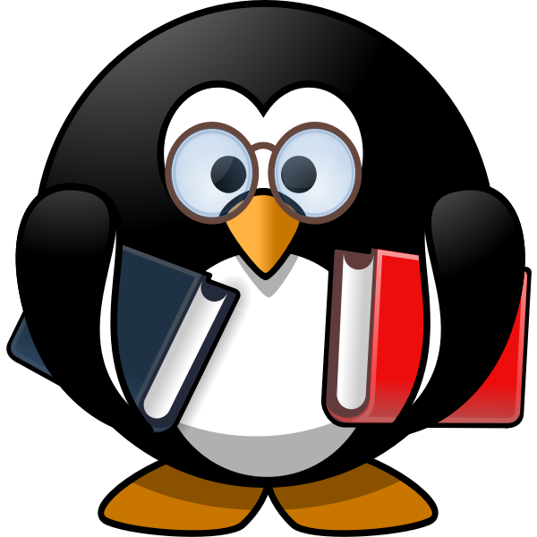 Penguin with textbooks vector image