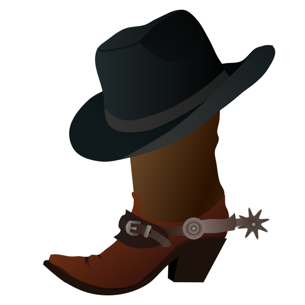 Cowboy boot and hat vector graphics