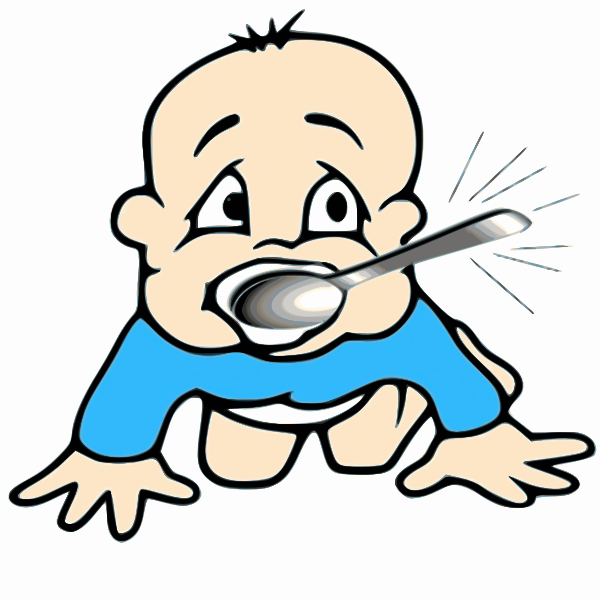 Baby with silver spoon