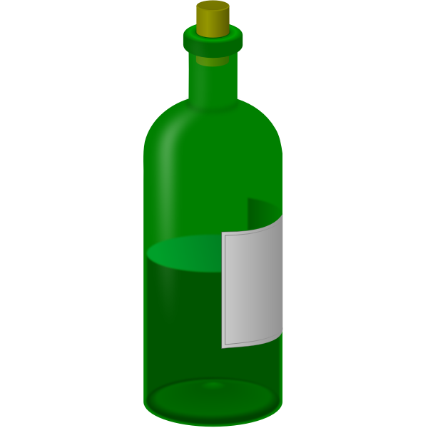 Green bottle with label vector