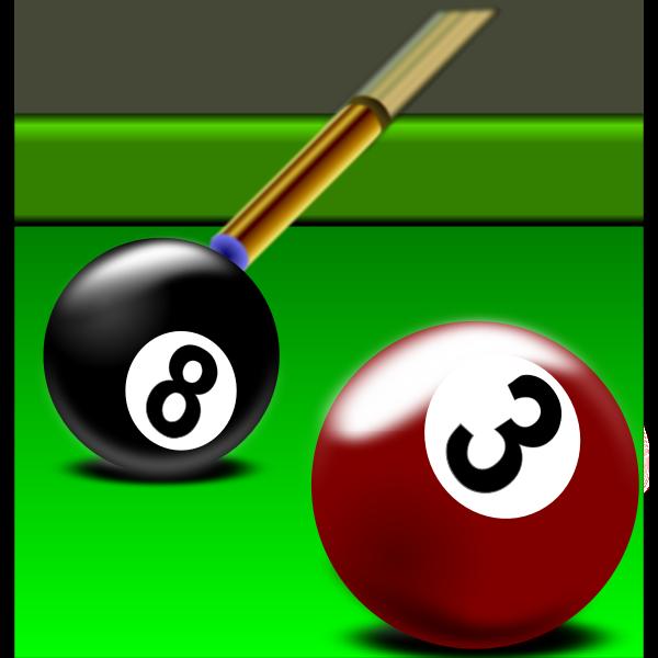 Illustration of black and red billiard balls