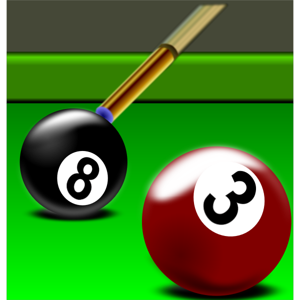 Illustration of black and red billiard balls