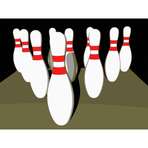 Bowling tenpins with shadow vector image