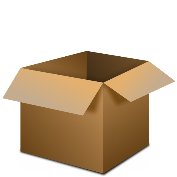 Vector drawing of transportation package box open