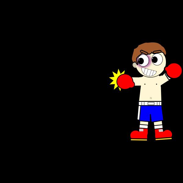 Cartoon boxer man vector drawing