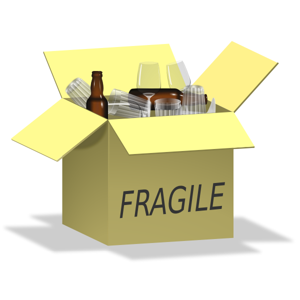 Vector image of box full of fragile items