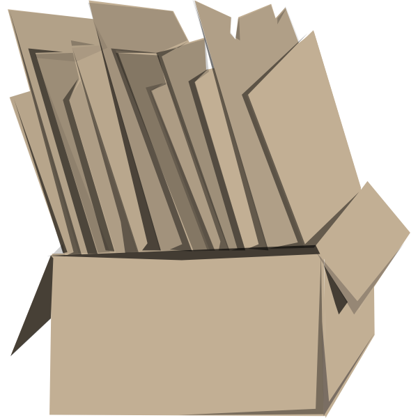 Vector illustration of cardboard box full of cardboard