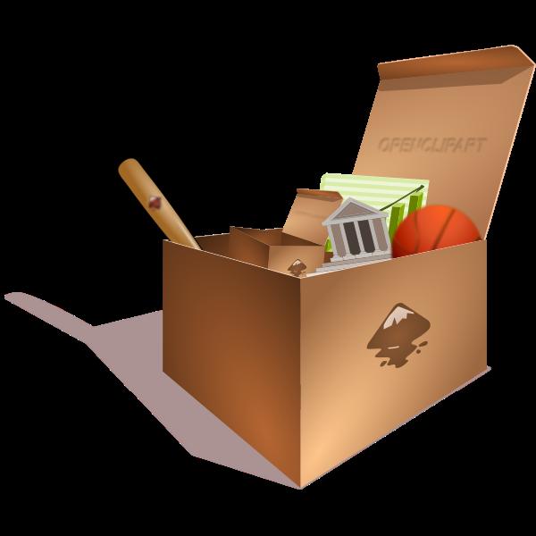 Vector illustration of cardboard box full of junk