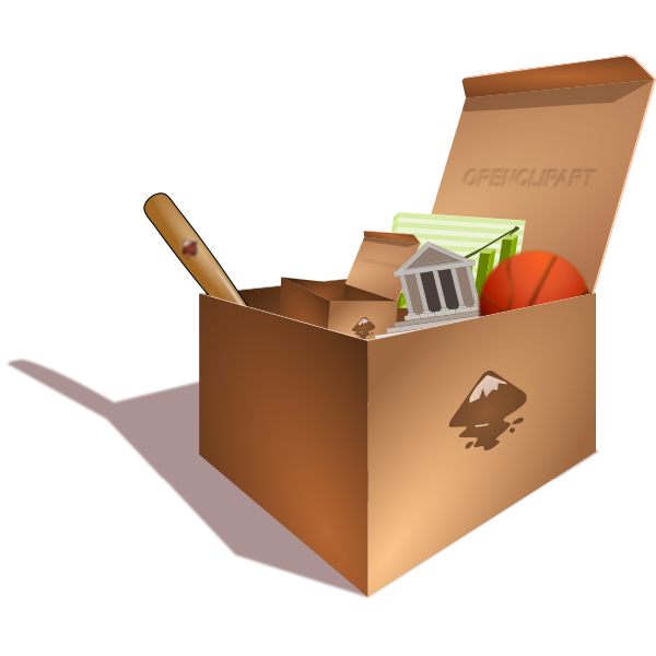 Vector illustration of cardboard box full of junk