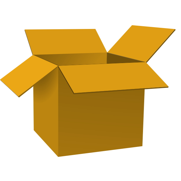 Dark brown open cardboard box vector illustration