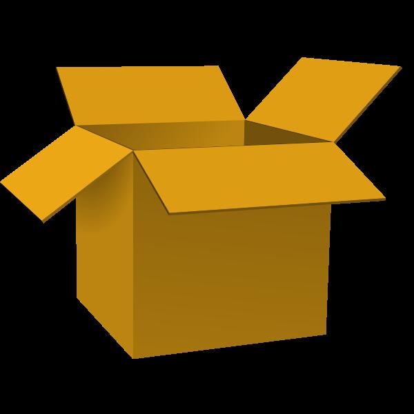 Dark brown open cardboard box vector illustration