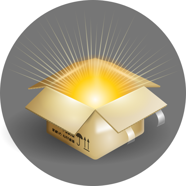 Vector illustration of cardboard box with rays of light coming out