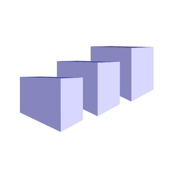 Vector graphics of three transport packages