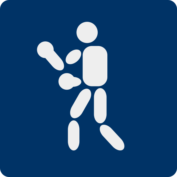 Vector illustration of boxing sport blue pictogram