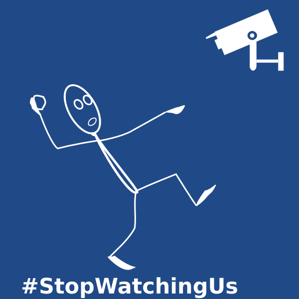 StopWatchingUs label vector drawing