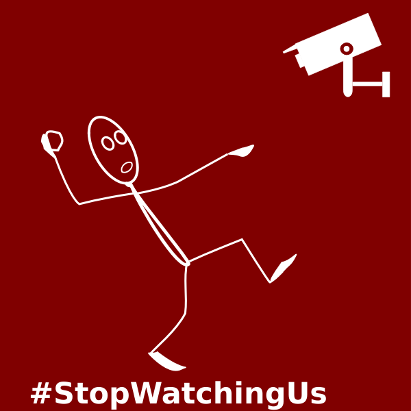 Stop Watching Us label vector illustration