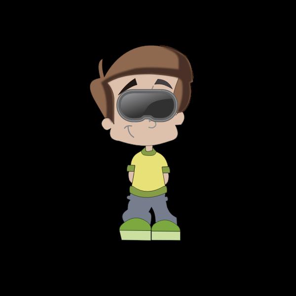 Boy with VR goggles cartoon art