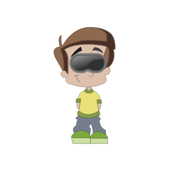Boy with VR goggles cartoon art
