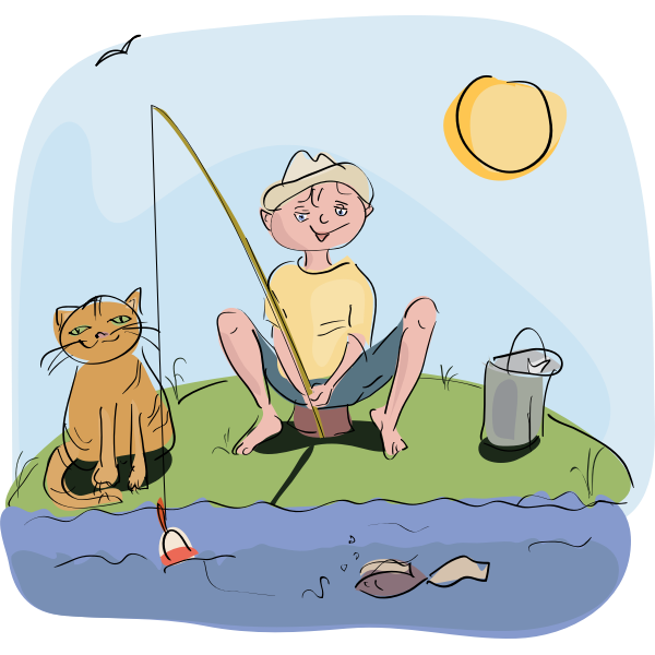Boy and cat fishing vector drawing