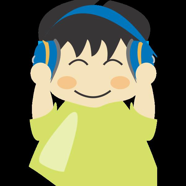 Boy with headphones vector clip art