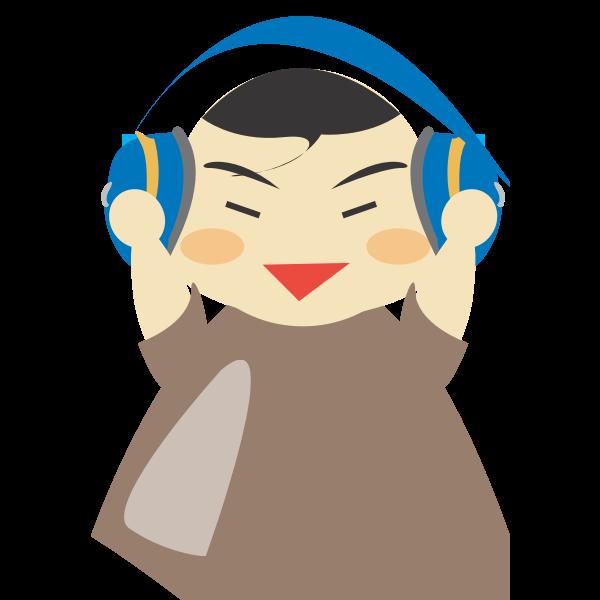 Boy with headphones vector graphics