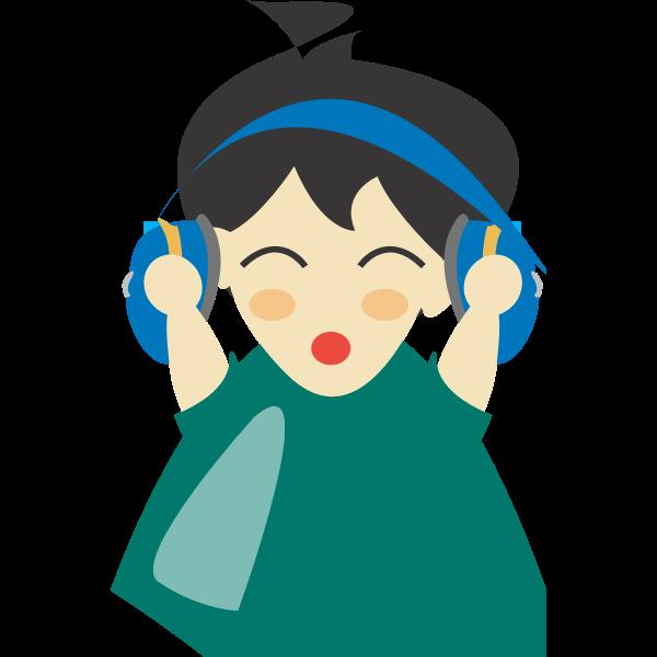 Boy with headphone vector clip art