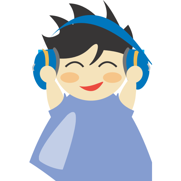 Boy with headphone vector drawing