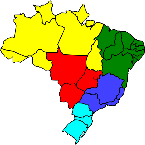 Colored map of Brazil vector image