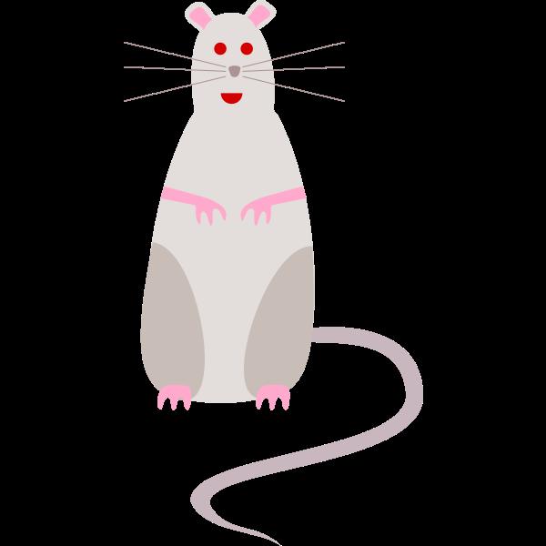 Vector graphics of red-eyed cartoon rat