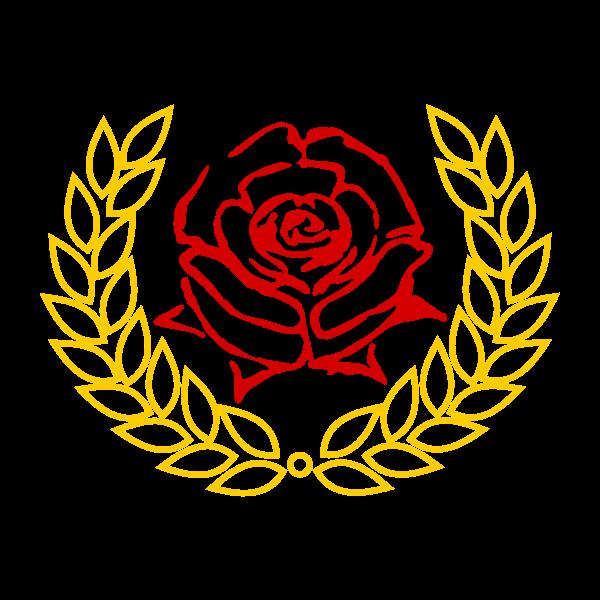 Red rose in laurel wreath vector clip art
