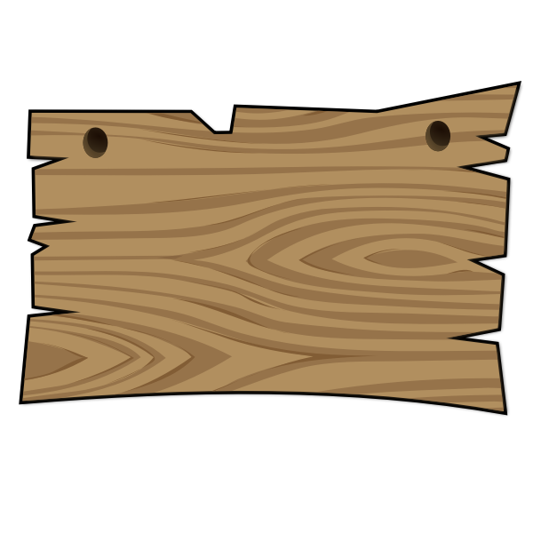 Vector clip art of wood signboard with two holes