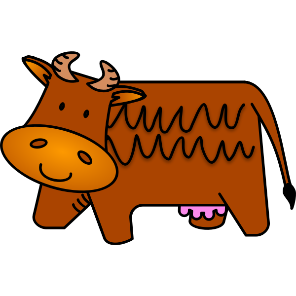 Vector illustration of friendly brown cow