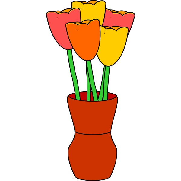 brown vase of multicolored tulips