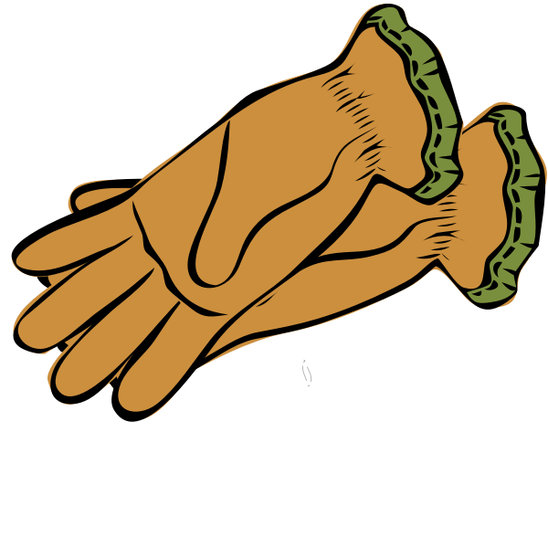 Brown and green gloves