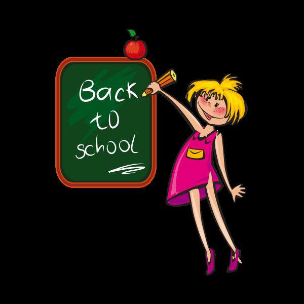 Girl writing on a blackboard vector illustration