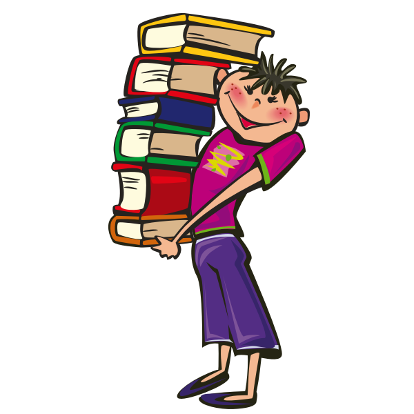 Boy holding books vector image